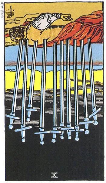 карта таро 10 мечей перевернутая